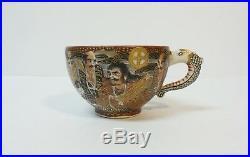 19th C. Japanese SATSUMA Pottery Dragon Cup & Saucer, MEIJI PERIOD (1868-1912)
