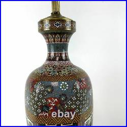 19th Century Japanese Meiji Period Tall Silver Wire Cloissone Vase Table Lamp