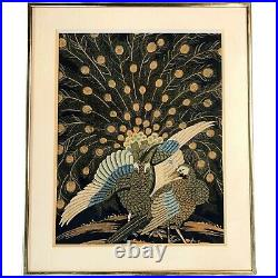 19th c Meiji Period Japanese Framed Needlework on Silk Panel with Peacocks