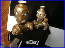 2 Antique Japanese Satsuma Vases One On Foo Lion & One On Elephant Meiji Period