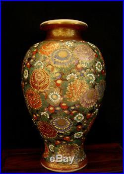8 3/4 Marked Japanese Meiji Period Green Base Thousand Flower Satsuma Vase