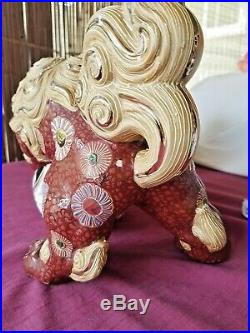 9 1/4 MARKED Kutani JAPANESE MEIJI PERIOD KUTANI FOO DOG / SHISHI / TEMPLE LION