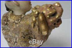9th C. Japanese SATSUMA Figurine, Boy & Dragon, Meiji Period