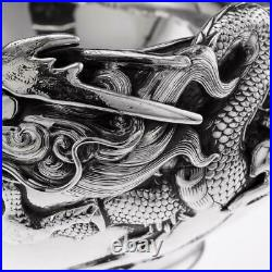 ANTIQUE 19thC JAPANESE MEIJI PERIOD SOLID SILVER MASSIVE DRAGON BOWL c. 1890