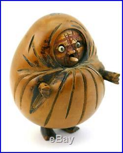ANTIQUE 19thC MEIJI PERIOD JAPANESE WOODEN KOBE DARUMA ARTICULATED DOLL FIGURE