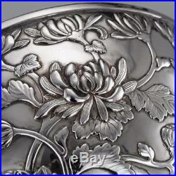 ANTIQUE 20thC JAPANESE MEIJI PERIOD SOLID SILVER FLORAL BOWL c. 1900