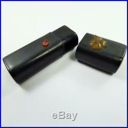 ANTIQUE JAPANESE Lacquer BOX tiny SHIBAYAMA MEIJI period LADYBIRD /CLOVER