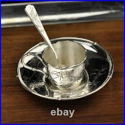 ARTHUR & BOND Japanese silver tea set on a tray, Meiji period (1868-1912)