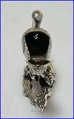A Fine Quality Pure Silver Meiji Period Miniature Crane Koro Incense Burner