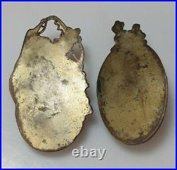 A Pair Of Rare Meiji Period Shakudo Metal Wall Pockets/Vases. Signed