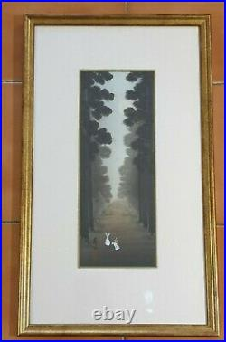 A Stunning Meiji Period Signed Ink Painting Two Rabbits In A Tree Lined Grove