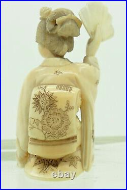 A Superb Antique Japanese Okimono Netsuke of a Geisha Meiji Period Signed