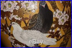 A large antique Japanese Satsuma vase of oval form, signed Taizan, Meiji period