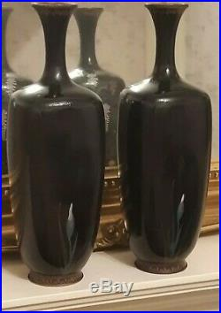 A rare and exquisite pair of Japanese Meiji period Cloisonne Vases Signed Ota