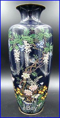 Amazing Meiji Period Japanese Large Cloisonne Vase Blue Enamel Wisteria Design
