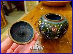 An Interesting Japanese Meiji period Green ground Cloisonne footed jar