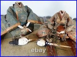 Antique 1800s Gofun Japanese Hina Dolls, Emperor & Empress, Edo-Meiji period