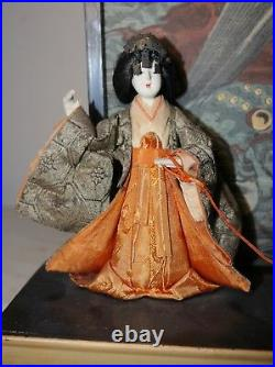 Antique 1800s Meiji Period Japanese Court Lady Ningyo doll dog block print stand