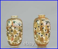 Antique 19th C Japanese Satsuma pair of Mini vases Japan Figures Meiji Period
