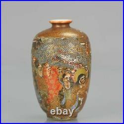 Antique 19th C Japanese Satsuma vase Japan Arhat Figures Meiji Period