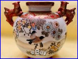 Antique 19th Japanese Kutani Meiji Period Porcelain Koro, Hand-Painted, Signed