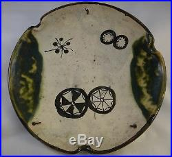 Antique 19th c. Japanese Oribe Pottery Dish. Meiji period -1868-1912, 10 5/8 d