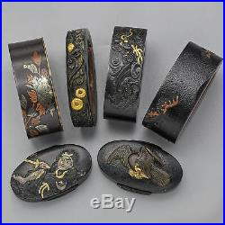 Antique Edo Meiji Period Shakudo Fuchi Gashira Set of 6 Japanese Sword Parts