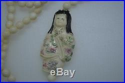 Antique Hand Carved Japanese Meiji Period Geisha Girl Bovine Bone Beads Necklace
