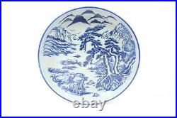 Antique Japanese Arita Hizen Blue and White Porcelain Charger Meiji Period