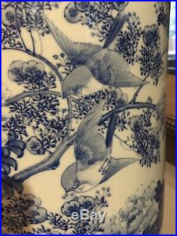 Antique Japanese Arita Unbrella Stand, Meiji Or Taisho Period. Peony Flowers