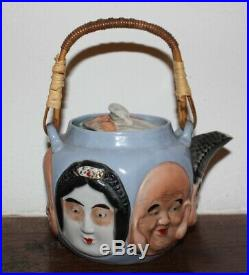 Antique Japanese Banko ware pottery teapot from Meiji Period (circa 1890)