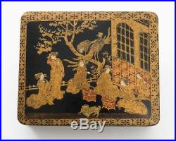 Antique Japanese Black Gold & Red Lacquer Box Meiji Period Women at Tea House 7