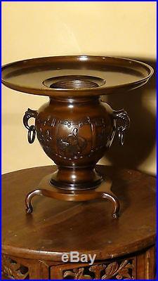 Antique Japanese Bronze Usubata Fine Meiji Period Ikebana Tokonoma Vase, Signed