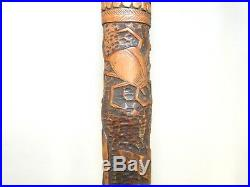 Antique Japanese Carved Bamboo Walking Stick Meiji Period Insects Butterflies