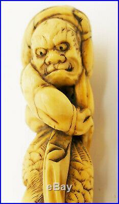 Antique Japanese Carved Okimono Walking Stick with Oni & Crow Meiji Period 19thC