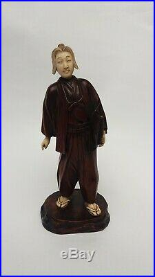 Antique Japanese Carved WOOD Okimono of Standing MAN, MEIJI PERIOD (1868-1912)