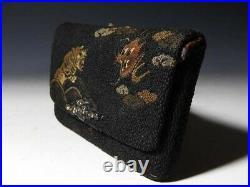 Antique Japanese Cigarette Kiseru Case Meiji Period Sagemono Dragon Tiger K0