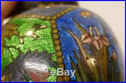 Antique Japanese Cloisonne Covered Jar / Tea Caddy Nature & Butterfly Design