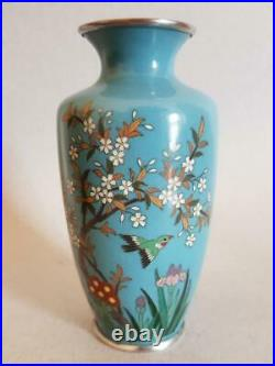 Antique Japanese Cloisonne Silver Wire Vase Late Meiji Period (1868-1912)