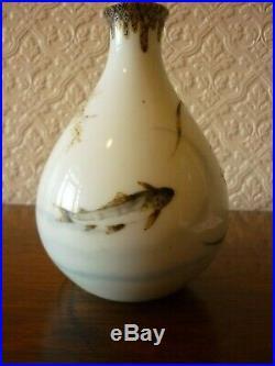 Antique Japanese Fukagawa Koi Carp Vase Meiji Period With A Six Character Mark
