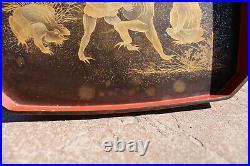 Antique Japanese Gold Lacquer Maki-e Tray Meiji Period