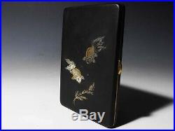 Antique Japanese Goldfish art deco Cigarette case box Meiji period Japan Rare