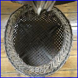 Antique Japanese Hand Made Bamboo Fishing Basket Meiji Period Late 18 19th C