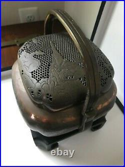 Antique Japanese Incense Censer Hand Warmer Deer Motif with Stand Meiji Period