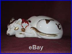 Antique Japanese Kutani Porcelain Cat Meiji Period