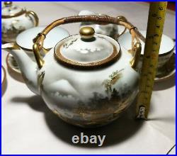 Antique Japanese Kutani eggshell porcelain tea set Meiji period 18pcs Excellent