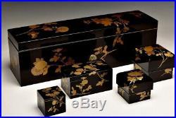 Antique Japanese Lacquer Chrysanthemum Makie 5 Boxes Set Meiji Period