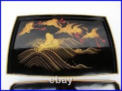Antique Japanese Lacquer Crane Bird Makie Tray Set of 2 Meiji Period