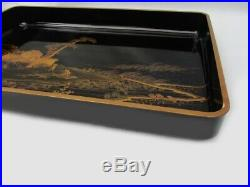 Antique Japanese Lacquer Farm View Makie Tray Meiji Period