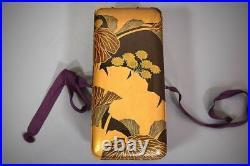 Antique Japanese Lacquer Ginkgo Leaf Maki-e Ink Stone Box Meiji Period